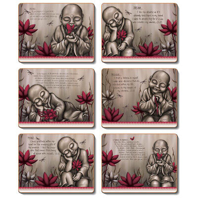 FROM THE SOUL MONK RED - Set of 6 Placemats and Coasters Lisa Pollock Cork Back