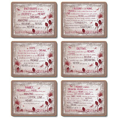HEART AFFIRMATION - Set of 6 Placemats and Coasters - Lisa Pollock - Cork Back