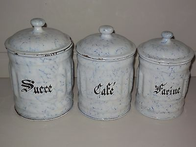 Lot of 3 VINTAGE French Enamelware Graniteware CANISTERS / Snow on the mountain