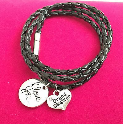 Leather Wrap Wristband Bracelet 'I Love You Grandaughter' ladies girls Gift