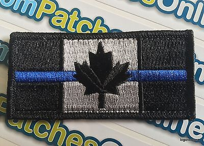 Canadian Flag Canada Swat Police Thin Blue Line Tactical backing Subdued Patch