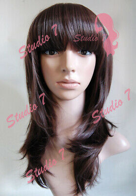 W70 Chocolate Brown Straight Fringe Ladies Wig Synthetic Skin Top Natural Look