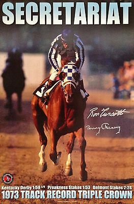 RON TURCOTTE & PENNY CHENERY SIGNED 12x18 PRINT-SECRETARIAT-1973 TRACK RECORDS
