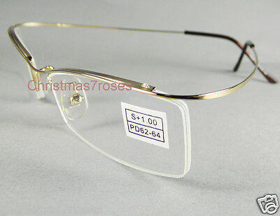 Men women half-Rimless Reading glasses flexible super light 1 2 anti-glare GOLD