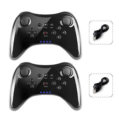 2X Pro Wireless Bluetooth Controller Gamepad + USB Cable Black for Nintendo Wii