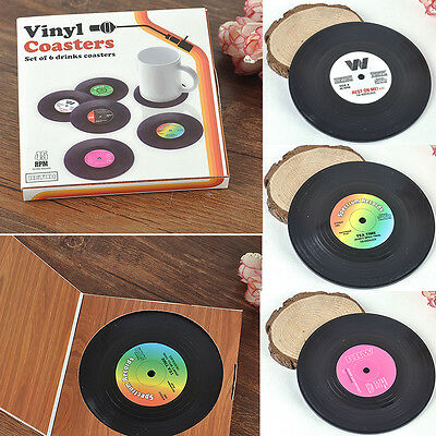 6pcs Creative Vinyl Record Cup Drinks Coaster Holder Mat Placemat Tableware Home