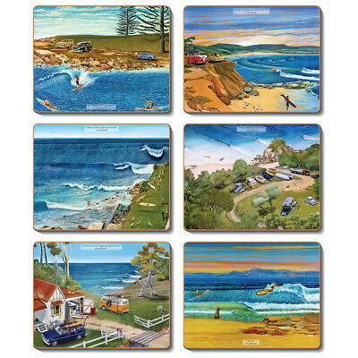 Surf Safari - Set of 6 Placemats and Coasters - Cinnamon Cork Backed