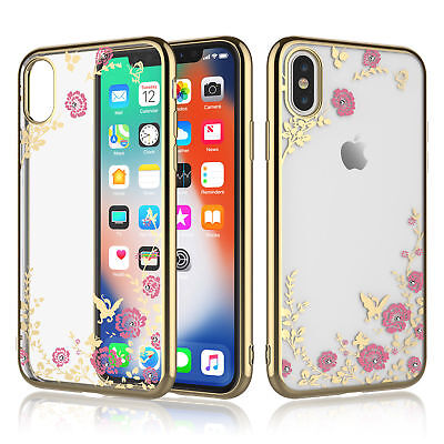 Bling Clear Crystal Bumper Flower Pattern Soft Case Cover For iPhone XS Max XR X