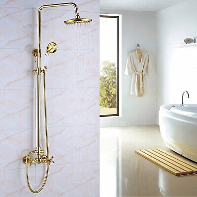 Bathroom Shower Faucet Antique Brass Rainfall 8 inch Shower Head With Hand Spray