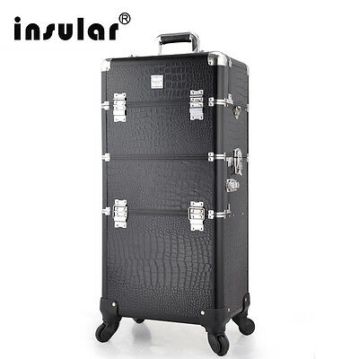 2 in1 Mutifunctional Trolley Cosmetic Case Rolling Makeup Case 360 Degree Wheel