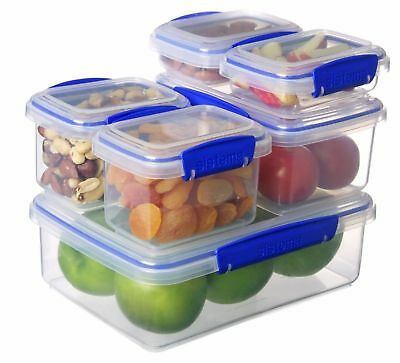 Food Lunchbox Storage Plastic Containers Box Microwave Safe Stackable Pack of 6