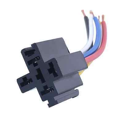 Auto Car 12V 40A 5Pin Control 5P Install Relay Amp Style*Harness Socket Wires