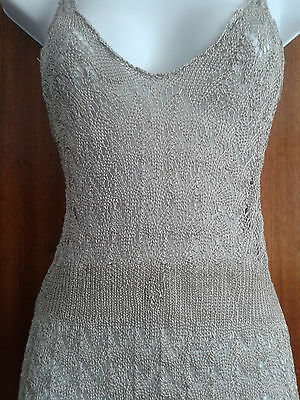 Size 12-16 Handknitted from Vintage Pattern Camisole/Body Metallic Mink (b18)