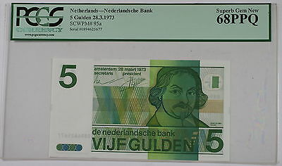 28.3.1973 Netherlands 5 Gulden Note SCWPM# 95a PCGS 68 PPQ Superb Gem New