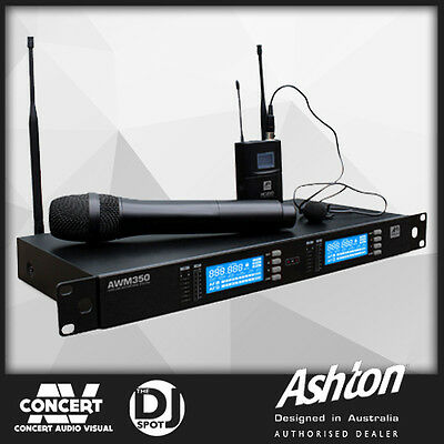 Ashton AWM350HTBP Dual Wireless Microphone System with Headset, Lavalier, H/Held