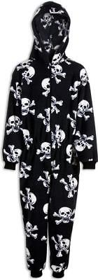Camille Childrens Unisex Black And White Skull Print All In One Pyjama Sleepsuit