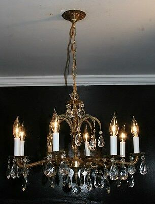 Antique 1970s brass crystal glass 8 arm ceiling chandelier light fixture Spain
