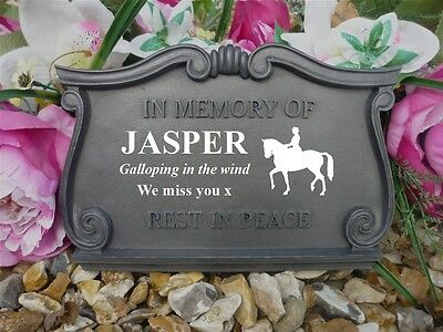 Horse Memorial - Personalised Scroll Plaque -Weatherproof- Horse Dressage Design