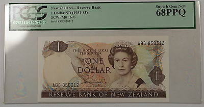 (1981-85)New Zealand Reserve Bank $1 Note SCWPM# 169a PCGS 68 PPQ Superb Gem New