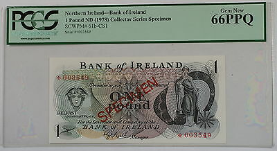 (1978) Northern Ireland 1 Pound Specimen Note SCWPM# 61b-CS1 PCGS 66 PPQ Gem New