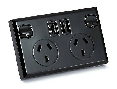 Black Dual USB Australian Power Point GPO Home Wall Plate Power Supply Socket