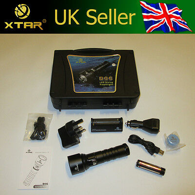 Xtar D06 100m Scuba Diving Torch CREE XM-L2 U2 + Xtar 3400mAh Battery & Charger