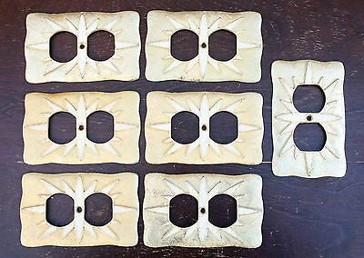 Lot of 7 Vintage Florenta Calif Wall Socket Outlet Cover Stone Mosaic Gold 1968