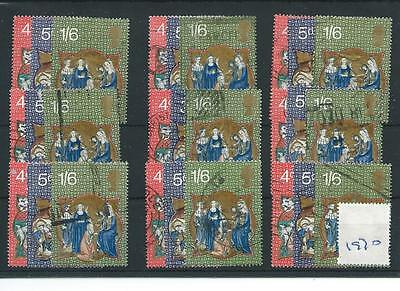 Gb - Wholesale Commems - 1970 - Christmas  - Nine Sets - Used