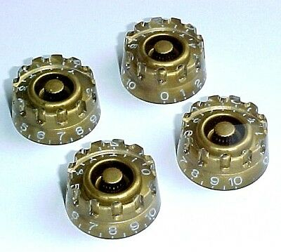 Set of 4 Gold Ridged Plastic Speed Knobs for Les Paul / SG Guitar & Similar