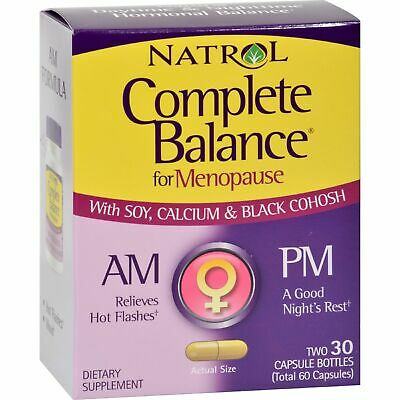 Natrol Complete Balance For Menopause A.M. P.M 2 30 Capsule Bottles 60 Caps x2