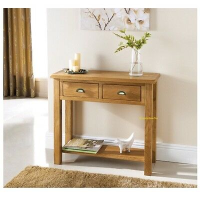 Solid Luxury Oak 2 Drawer Console Table Telephone Letter Hall Lobby Living Room