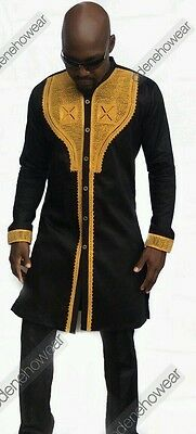 Odeneho Wear Men's Black Polished Cotton Top/ Gold Embroidery. African Clothing.