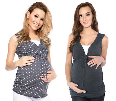 2in1 Maternity & nursing pregnancy comfortable Top Blouse Shirt sleeveless 3092