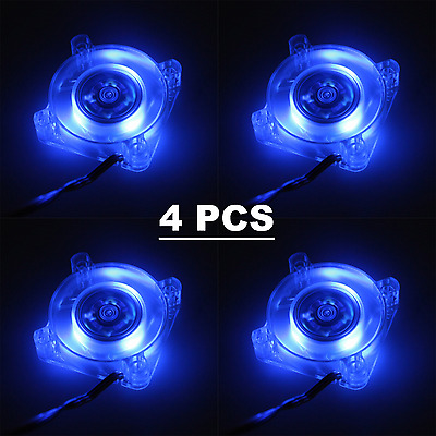 4 Pcs 12V 40mm Gdstime Blue LED Cooling Case Fan 3Pin DC 40x40x10mm 4010s