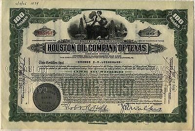 Houston Oil Company Of Texas Stock Certificate