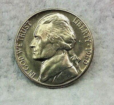 1960 D Jefferson Nickel-Choice-Brilliant Uncirculated-From OBW Rolls-Ship Free