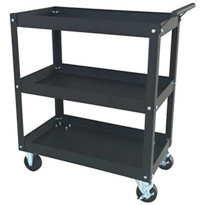 Black Rolling Metal 3 Tray Utility Tool Service Push Cart Shelf Storage Wheeled