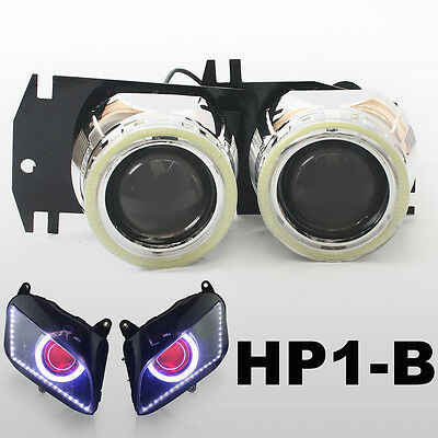 KT LED Angel Halos Eye HID Projector Lens for Honda CBR600RR 2007-2012 Headlight