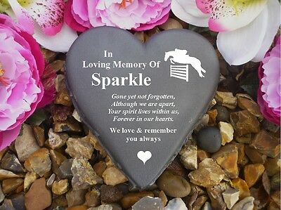 Horse Memorial - Floral Heart - Personalised & Weatherproof - Horse Jumping