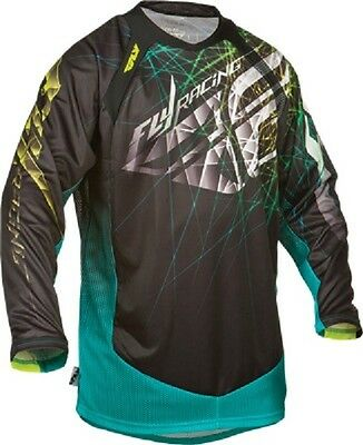 "FLY Racing ""EVOLUTION"" 2.0 Black Teal Jersey motocross off road youth kids"