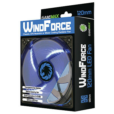 Game Max Windforce 4 x Blue LED 12CM PC Cooling Fan 3-pin & 4-Pin Molex 120mm