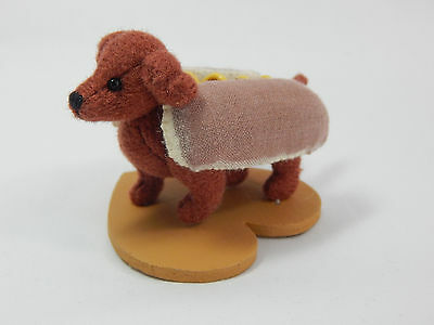 "World of Miniature Bears 2.5x1.5"" Polysuede Hot Dog Franklin #1149 Collectibles"