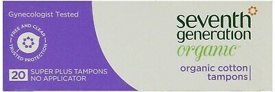 Seventh Generation Organic Cotton Tampons Super + Chlorine Free 20 Pc - X 6