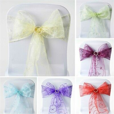 300 x WHOLESALE Embroidered Organza CHAIR SASHES Ties Bows Wedding Party Supply