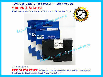 1Pc  Brother TZ-221 P-Touch Compatible Black on white Label Tape 9mm 8m TZ e221