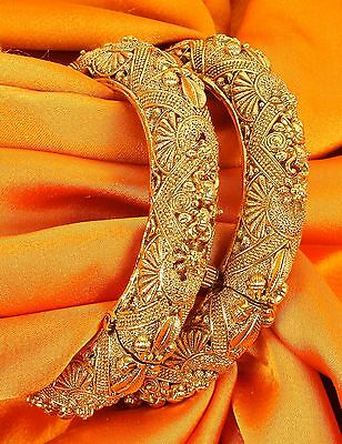 Indian Bollywood Jewelry Polki Lovable Beautiful Gold plated Wedding Bangles Set