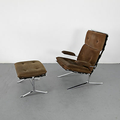 """Velour Leather Lounge Chair """"Joker"""" w/ Ottoman by Olivier Mourgue France Sessel"""