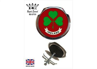 Royale Car Grill Badge + Fittings - SHAMROCK of IRELAND Red B2.2733