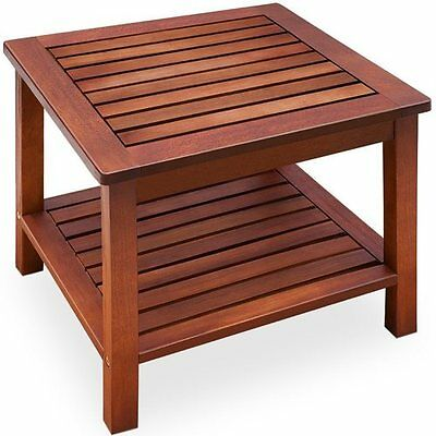 Side Coffee Table Wooden Garden Bistro Outdoor Shelf Solid Wood Low Patio