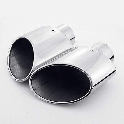 """Pair black 2.5/"""" oval rolled angle cut resonated exhaust tips tail pipes"""